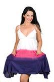 Beau femme dans la robe d'été photo libre de droits