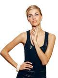 Beau femme dans la robe noire Photographie stock libre de droits
