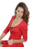 Beau femme dans la robe rouge 5 Images libres de droits
