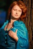 Beau femme dans le bleu Image libre de droits