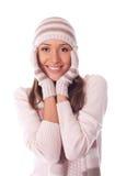 beau femme dans le chapeau de l'hiver Photo libre de droits