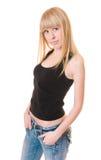 Beau femme dans le T-shirt noir Image libre de droits