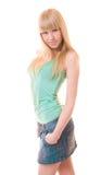 Beau femme dans le T-shirt vert Photos libres de droits
