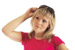 Beau femme dans un gilet rose Photographie stock