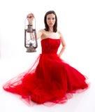 Beau femme dans une robe rouge Photographie stock libre de droits