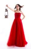 Beau femme dans une robe rouge Photo libre de droits