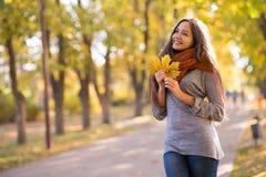 Beau femme en stationnement d'automne photo libre de droits