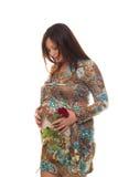 Beau femme enceinte avec la fleur Photographie stock