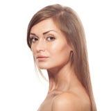 Beau femme Long cheveu sain Image stock