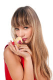 Beau femme pensif avec la fleur Photographie stock libre de droits