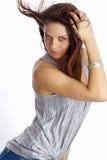 Beau femme. Renivellement et Fashion.Portrait d'un être Photo stock