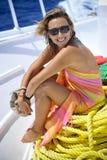 Beau femme sur le bateau Photographie stock