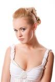 Beau femme sur le blanc Photographie stock