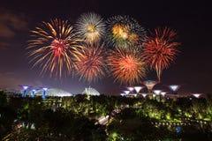 Beau feu d'artifice au-dessus des jardins par la baie la nuit, Singapour Photo libre de droits