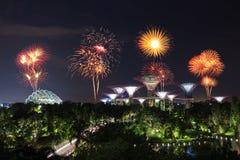 Beau feu d'artifice au-dessus des jardins par la baie la nuit, Singapour Images stock
