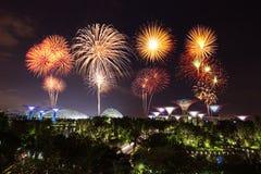 Beau feu d'artifice au-dessus des jardins par la baie la nuit, Singapour Photos libres de droits