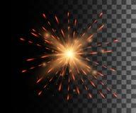 Beau feu d'artifice rouge lumineux de décoration de feu d'artifice pour l'anniversaire de festival de vacances de célébration de  Image stock