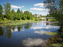 beau fleuve de bateau Photo libre de droits