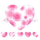 Beau fond avec des coeurs de rose de fleur Carte de voeux Le VE illustration libre de droits