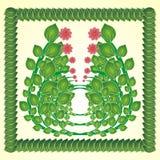Beau fond avec des feuilles et des fleurs illustration de vecteur