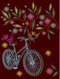 Beau fond avec l'arbre et la bicyclette Photographie stock