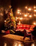 Beau fond avec un arbre de Noël Photographie stock