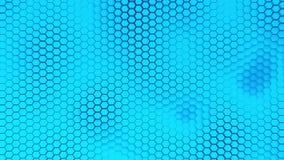 Beau fond bleu de hexagrid avec le mouvement de vagues lent boucle banque de vidéos