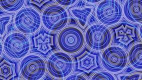 Beau fond bleu et pourpre, abstraction de kaléidoscope avec le changement et cercles mobiles animation R?sum? illustration stock