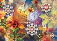 Beau fond coloré et conception florale images libres de droits