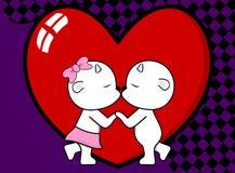Beau fond de baiser mignon de valentine de bande dessinée de garçon et de fille de chèvre illustration libre de droits