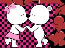 Beau fond de baiser mignon de valentine de bande dessinée de garçon et de fille d'ours blanc illustration stock