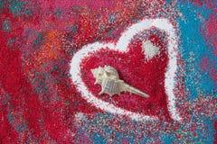 Beau fond de coeur sur le sable coloré fait à partir des coquilles de mer Photo libre de droits
