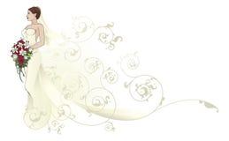 Beau fond de configuration de robe de mariage de jeune mariée Image stock