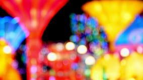 Beau fond de l'illumination multicolore plan rapproché, foyer brouillé et mou Lumières abstraites Defocused de bokeh banque de vidéos