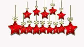 Beau fond de Noël avec les étoiles rouges et l'écriture d'or illustration de vecteur