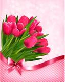 Beau fond de tulipes roses Photos libres de droits