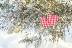 Beau fond de vacances de valentine avec deux coeurs à carreaux Photographie stock libre de droits