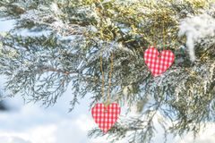 Beau fond de vacances de valentine avec deux coeurs à carreaux Photos libres de droits