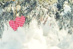 Beau fond de vacances de valentine avec deux coeurs à carreaux Image libre de droits