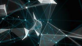 Beau fond géométrique abstrait avec les lignes, les points et les triangles mobiles Technologie d'abrégé sur imagination de plexu illustration libre de droits