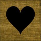Beau fond grunge de coeur de noir de tissu de jute Photographie stock libre de droits