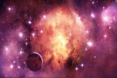 Beau fond multicolore artistique de galaxie avec beaucoup d'étoiles rougeoyantes lumineuses photographie stock