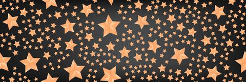 Beau fond panoramique avec les étoiles d'or illustration libre de droits