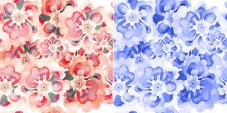 Modèles sans couture avec des fleurs d'aquarelle illustration libre de droits