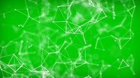 Beau fond vert géométrique de résumé avec les lignes, les points et les triangles mobiles illustration libre de droits