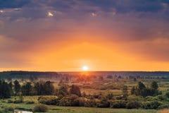 Beau Forest On Sunrise Ciel dramatique avec photo libre de droits