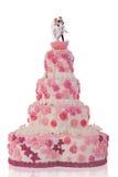 Beau gâteau de mariage, avec les roses roses Images stock