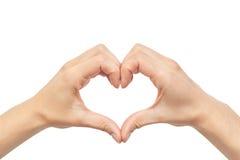 Beau geste femelle d'amour de main D'isolement sur le fond blanc Image libre de droits