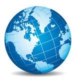 Beau globe du bleu 3d L'Amérique, Canada, Alaska Images libres de droits