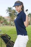 Beau golf de joueur avec son club images libres de droits